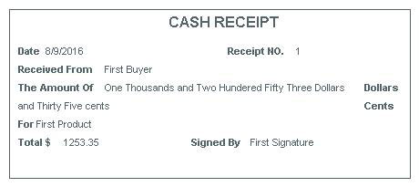 Actual Receipt  Cash Receipt